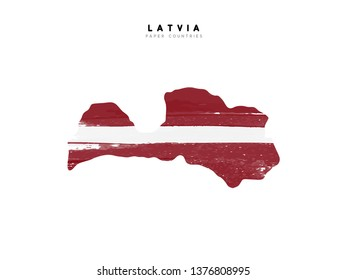 Latvia detailed map with flag of country. Painted in watercolor paint colors in the national flag.