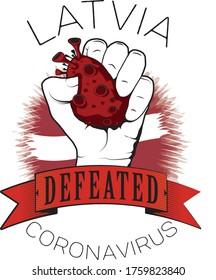 latvia europe coronavirus win defeated color flag fist vector illustrator printable template full quality