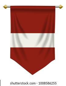 Latvia flag or pennant isolated on white