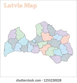 Latvia hand-drawn map. Colourful sketchy country outline. Quaint Latvia map with provinces. Vector illustration.