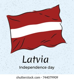 Latvia. Independence day. Vector illustration with the flag of Latvia.