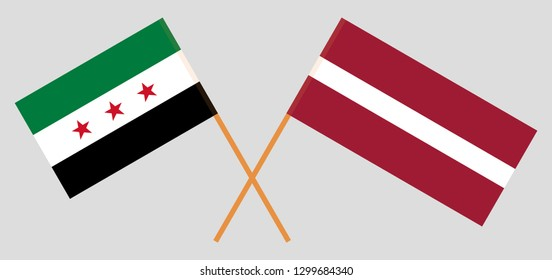 Latvia and Interim Government of Syria. The Latvian and Coalition flags. Official colors. Correct proportion. Vector illustration