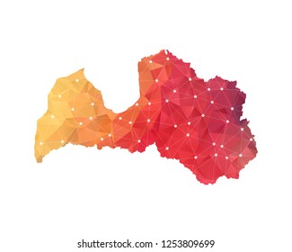 Latvia Map - Abstract geometric rumpled triangular low poly style gradient graphic on white background , line dots polygonal design for your . Vector illustration eps 10.