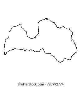 Latvia map of black contour curves of vector illustration
