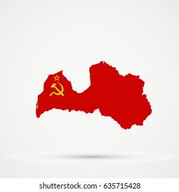 Latvia map in Soviet Union (URRS), flag colors, editable vector.