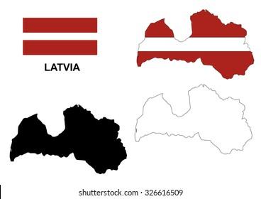 Latvia map vector, Latvia flag vector, isolated Latvia