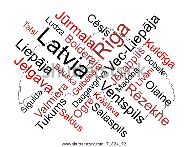 Latvia Map Words Cloud Larger Cities Stock Vector (Royalty Free ...