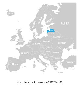 latvia marked by blue in grey political map of europe vector illustration