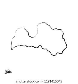 Latvia outline contour black map