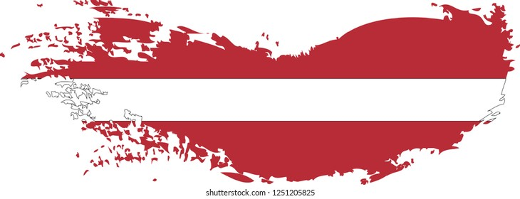 Latvia vector grunge brush stroke with  national flag and contour map.