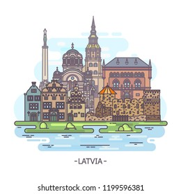Latvian architecture buildings or Latvia landmarks