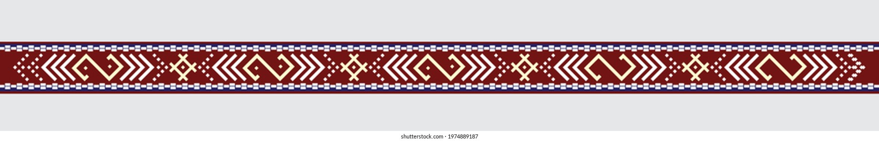 Latvian traditional ethnic ornament belt, national signs and symbols vector illustration in red and white