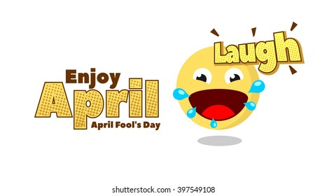 Laugh Emoticon for April Fool Day. Banner Template. Vector Illustration. Eps.10