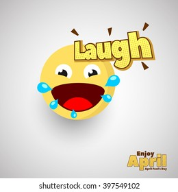 Laugh Emoticon for April Fools Day. Vector Illustration. Eps.10