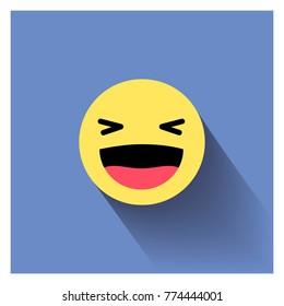 Laugh emoticon. Smiley face sign pin icon. Happy smiley chat symbol. Vector illustration smile icon.Happy emotion.