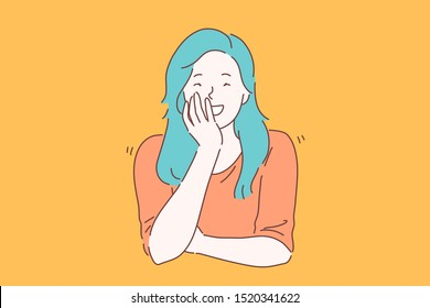 Laugh, joke, smile concept. Young joyous happy woman or girl with charisma laughs carefree. Smiling lady giggling closing her mouth with her hand out loud not hiding her emotions. Vector flat design.