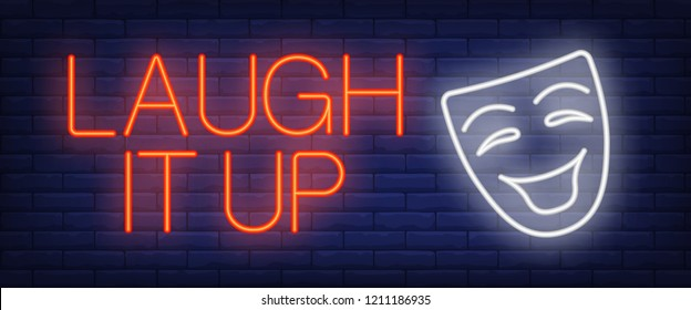 Laugh it up neon sign. Comedian mask on brick background. Comedy show, standup, humor. Night bright advertisement. Vector illustration in neon style for entertainment, emotion, positivity