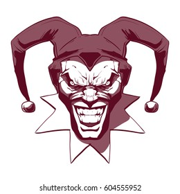 laughing angry joker, character, head, horror, crazy maniac, for your design, vector illustration