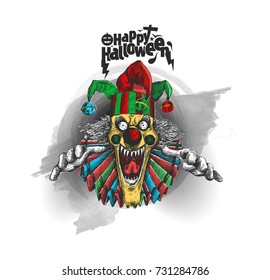 Laughing angry joker head, face horror and crazy maniac. Evil smiling character., Hand Drawn Sketch Vector illustration.