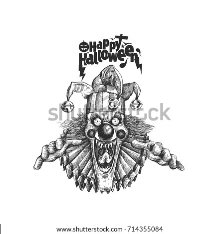 Laughing Angry Joker Head Face Horror Stock Vector Royalty Free