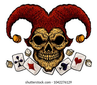Laughing angry joker skull with playing cards, Isolated vector illustration on the white background.