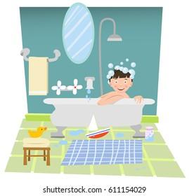 Laughing boy in bath tub, head full of bubbles (cartoon illustration)