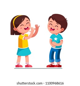 Laughing boy and girl kids showing tongues joking & teasing making silly grimace. Kids playing laughing holding belly. Teasing children cartoon characters having fun together. Flat vector illustration