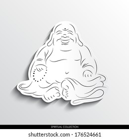 Laughing Buddha abstract silhouette on white paper background. Spirituality vector collection.