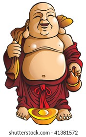 Laughing Buddha with huge belly, sack and gold ingot, traditional Chinese god, vector illustration
