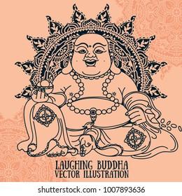 Laughing Buddha on beautiful mandala, traditional asian Feng Shui talisman Hotei or Budai, vector illustration