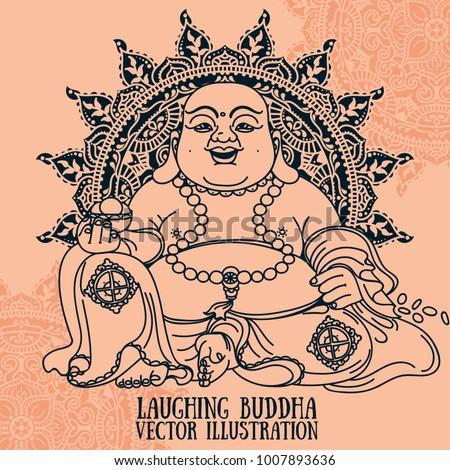 Laughing Buddha On Beautiful Mandala Traditional Stock Vector ...