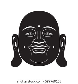 Laughing Buddha In Simple Black Style Isolated On White Background. Created For Mobile, Web, Decor, Print Products, Application.
