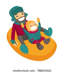 Laughing caucasian white father with son sledding down on snow rubber tube in the winter park. Concept of outdoor winter leisure activity. Vector cartoon illustration isolated on white background.