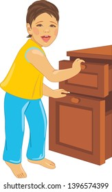 Laughing child opens the dresser. Vector