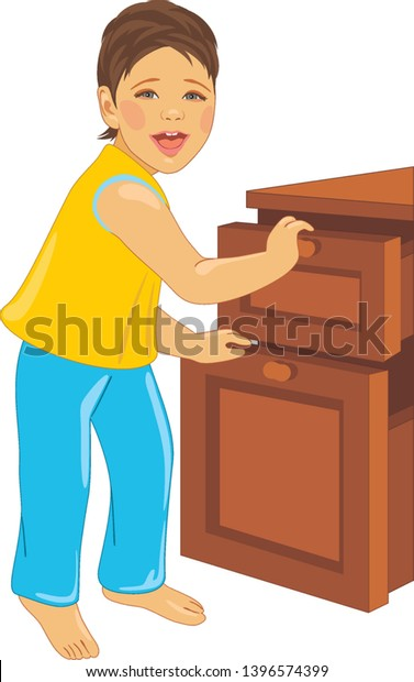 laughing-child-opens-dresser-vector-600w