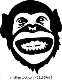 Laughing chimpanzee head