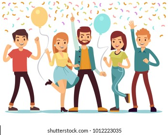 Laughing and dancing young people at party. Happy men and women celebrate important event. Vector illustration. People on party, woman and man group happiness