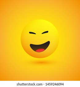 Laughing Emoji - Simple Shiny Happy Emoticon on Yellow Background - Vector Design