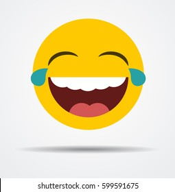Laughing emoticon in a flat design