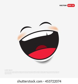 Laughing emoticon isolated on white background - vector illustration