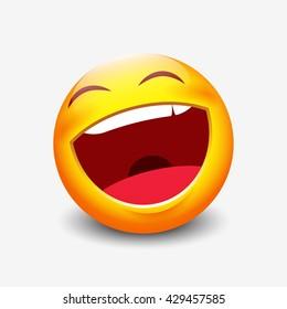 Laughing emoticon - vector illustration