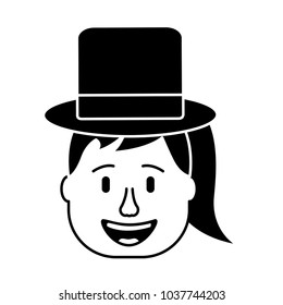 laughing face woman with hat enjoy