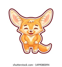 Laughing fennec fox with paws on its belly. Cute kawaii cartoon character with single contour  of whole image for using as a sticker, etc.  Funny emotion and face expression