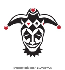 Laughing joker head. Jester. Buffoon. for your design, vector illustration