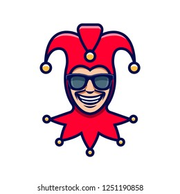 The laughing Joker in sunglasses. Jester icon. Buffoon logo
