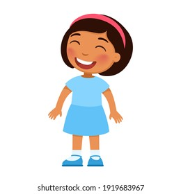 Laughing little girl. Cheerful Latin-American child with a smile on face standing alone cartoon character. Lonely kid in good mood, person happy expression