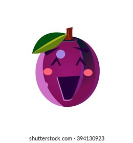 Laughing Plum Emoji Flat Vector Illustration In Primitive Cartoon Style Isolated On White Background