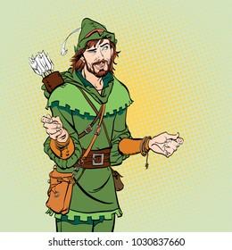 Laughing Robin Hood. Wondering Robin Hood. Medieval legends. Heroes of medieval legends. Halftone background.