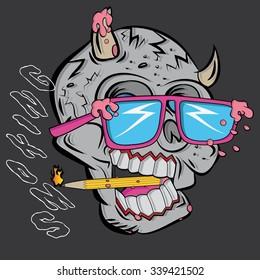 laughing skull smoking a pencil