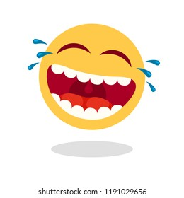 Laughing smiley emoticon. Cartoon happy face with laughing mouth and tears, emoticons cry or tear smile. Loud laugh lol emoji. Sticker yellow vector isolated icon
